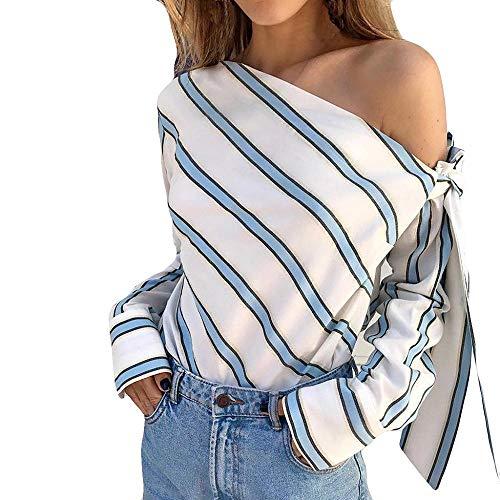VJGOAL Mujer Moda Sexy Fuera del Hombro clásico Rayas Salvajes Rayas Top Manga Larga Jersey Casual Blusa Verano Camisa Suelta (S, Azul)