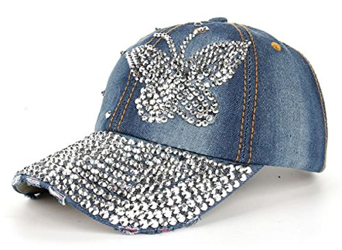 dy_mode Damen Jeans Basecap Baseball Cap Mütze Kappe mit Strasssteinen Glitzer Schmetterling Muster - K001 (K001-Dunkelblau)