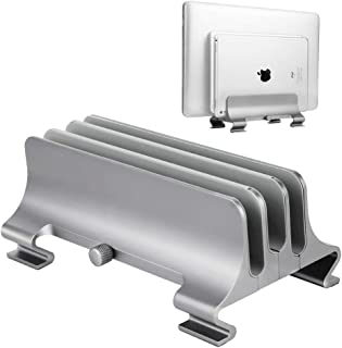 Premium Aluminum Vertical Laptop Stand, Elec3 Adjustable 3 Slots Desktop Holder Space Saving Stand for All MacBook/MacBook Pro/MacBook Air, Notebooks and Other Tablets(Gray)