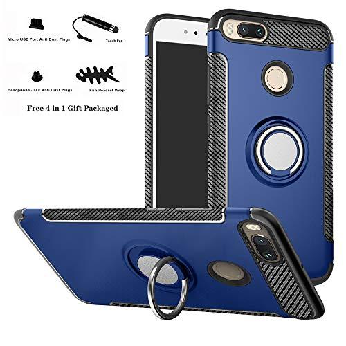 Labanema Xiaomi Mi 5X Funda, 360 Rotating Ring Grip Stand Holder Capa TPU + PC Shockproof Anti-rasguños teléfono Caso protección Cáscara Cover para Xiaomi Mi 5X / Mi A1 - Azul