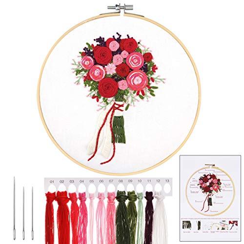 MWOOT 3D Kreuzstich-Set Embroidery Starter Kit mit Blumenstraußmuster,DIY Handarbeit Stickerei Starter Kit Cross Stitch Craft für Erwachsene Anfänger Sticken,Rot