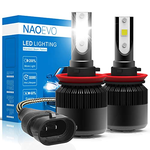 H11(H9/H8) LED Headlight Bulbs, 60W 6400Lumens 6500K Cool White Super Bright, NAOEVO Adjustable Beam Conversion Kit