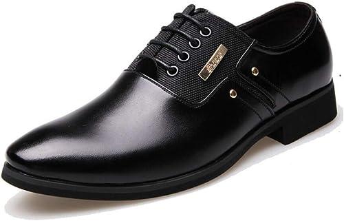 Hhor Chaussures en Cuir pour Hommes, Mocassins Confortables, Chaussures à Coudre à la Main antidérapantes à Bout Pointu pour Hommes d'affaires (Couleuré   on, Taille   43)