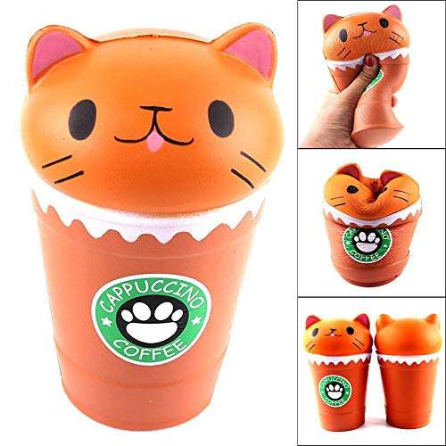 Jumbo Squishies 14cm Cappuccino Coffee Cup Cat Scented Squishy Slow Rising Squeeze Toy Collection Cure Gift for Kids Stress Relief Toy for Adults Elderly Indoor Hand and Wrist Exercise (Brown)