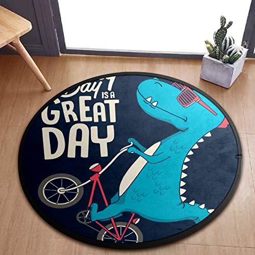 ALINLO Alfombra redonda para niños con diseño de dinosaurios de dibujos animados con bicicleta para juegos de bebé, alfombra para el dormitorio, sala de juegos, decoración del hogar de 92 cm