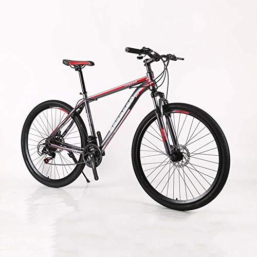 MW Mountain Bike, Bicicletta della Strada, Hard Tail Bike, Bike 29 Pollici, Acciaio al Carbonio Adulta della Bicicletta, Variabile per Adulti Speed Bike, Doppio Assorbimento di Scossa,Gray Red