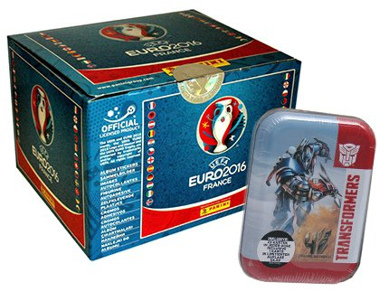 Panini EM 2016 Sticker - 1 Display + Transformers Trading Card Game - 1 Mini-Tin - Deutsche Ausgabe