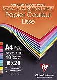 Clairefontaine 97444C - Un bloc Dessin lisse Maya 20 feuilles 21x29,7 cm 120g,...