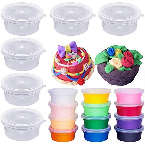 Bogoro 12 Piezas Contenedores de Plástico Transparente de Plastilina Recipientes de Almacenamiento de Bolas de Espuma Reutilizables de plástico con Tapas para Pegamento Agua Cosmética Plastilina Limo