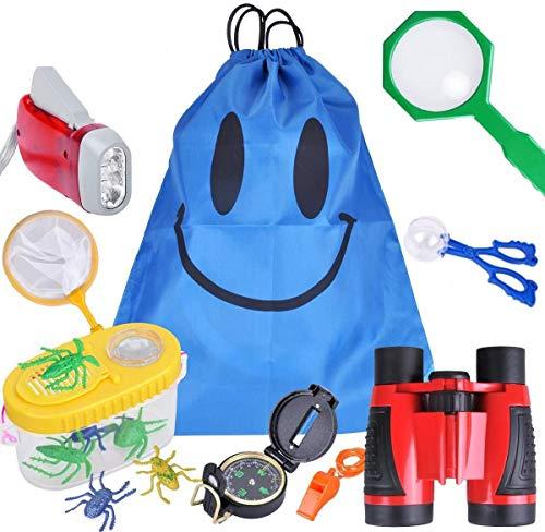 SeeKool Kit de Exploración para Niños 15 en 1,Prismáticos, Linterna LED de Mano, Brújula, Lupa, Silbato, Regalo de Cumpleaños para Niños de 3-10 Años Juego de Explorador Jugar para Niños