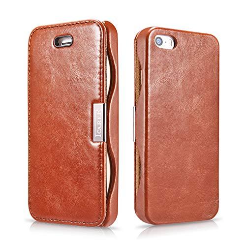 ICARER Tasche passend für Apple iPhone SE (2016), iPhone 5S & iPhone 5, Hülle Außenseite aus Echt-Leder, Schutz-Hülle seitlich klappbar, Ultra-Slim Cover, Vintage Erscheinungsbild, Dunkel-Braun