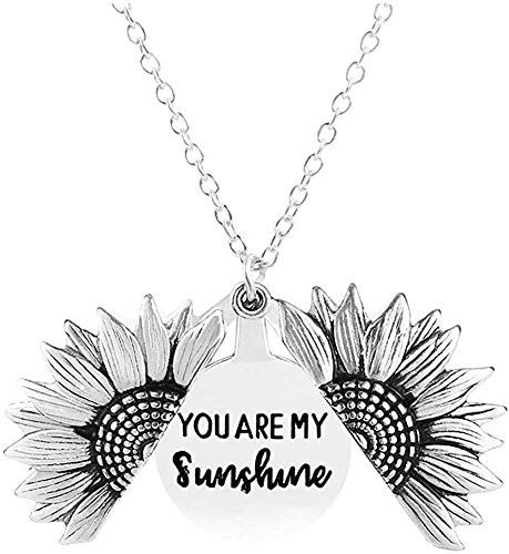 Sunflower Locket Necklace You are My Sunshine Engraved Pendant Necklace for Women Girls (Silver-You're my sunshine)