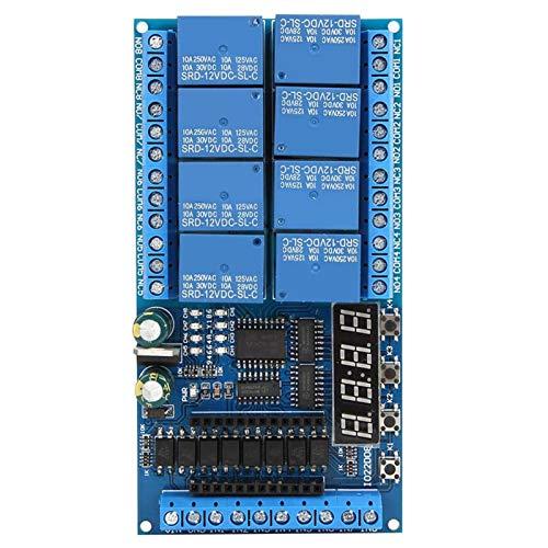 SALUTUYA DC 12V Relaisabschirmungsmodul, 8-Kanal Pro Mini SPS-Relaisabschirmmodul Verzögerungs-Timer-Schalttafel, für Arduino, Timing EIN/AUS(Relaisplatine)