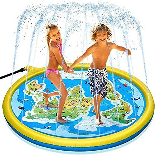 MWXFYWW Almohadilla Aspersor, Fiesta Playa Jardín Tapete de Juegos de Agua, Juego de Salpicaduras Tapete de Agua Chapoteo, Juguete para Niños-Splash Pad para Actividades Juegos Aire Libre