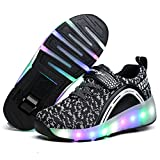 Nsasy Black Roller Shoes Girls Boys LED Sneakers with Wheel Breathable Mesh Shoes with Velcro Lace for Kids Birthday Halloween Thanksgiving Christmas Day Best Gift