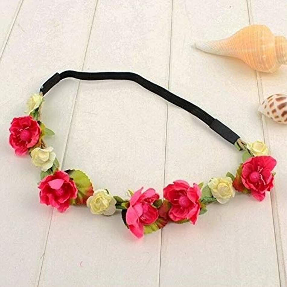 Fashion Women Girls Flower Head Hollow Elastic Hair Band Headband Wedding Party (Color - Rose)