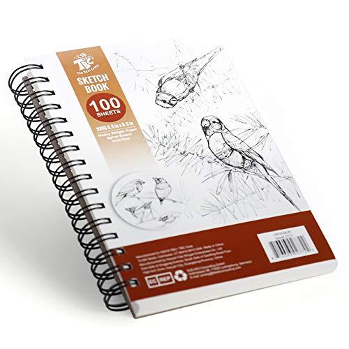 TBC The Best Crafts Bloc de Papier Dessin Croquis blanc 100 Feuilles 100g A5(5.5''X8.5'') pour Professionnel Artiste Édutiants