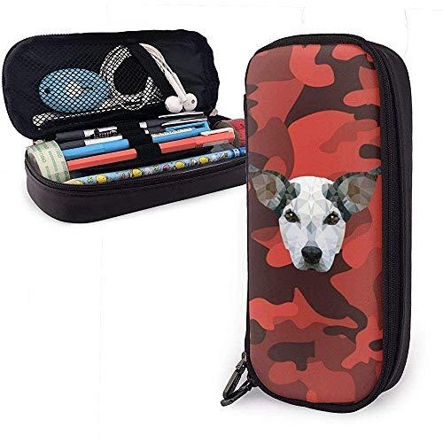 Schwarz rot camo muster pu leder beutel aufbewahrungstaschen tragbare student bleistift büromaterial tasche reißverschluss brieftaschen make-up
