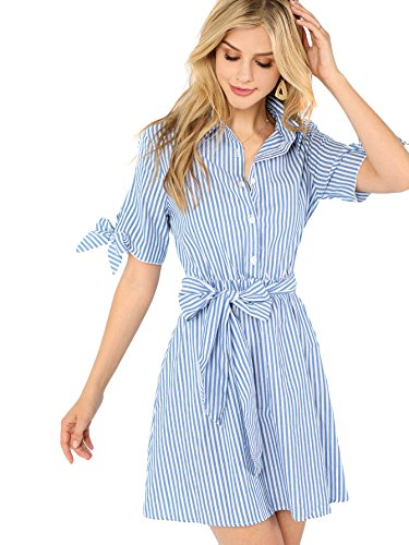Romwe Women's Cute Short Sleeve Striped Belted Button Up Summer Short Shirt Dress (Medium,