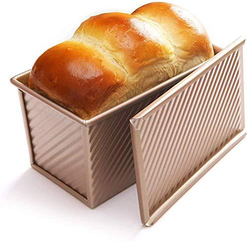 AOSNTEK Molde antiadherente para pan con tapa para hornear, 2 libras, acero al carbono, con tapa deslizante, dorado, 450 g para tostadas, sándwiches, tartas