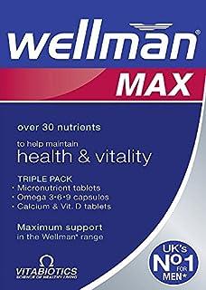 Vitabiotics Wellman Max - 84 count [ Vitamins & Mineral Tabs, Omega 3,6,9 Caps & Calcium Vitamin D tabs ]