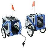 sarah Rimorchio Bici per Cani Pratico Comodo Utile Resistente Durevole Solido Robusto Trasporto Animali Accessorio per Bicicletta Rimorchio Carrello Bici per Il Trasporto Cane Cani Animali(grigio blu)