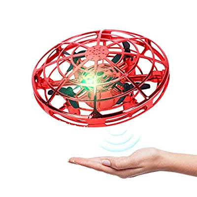 BRAND SET Mini Drones for Kids UFO Toy Flying Saucer Mini Drone With LED Lights Infrared Induction Hand Controlled UFO Flying Ball Toys, Easy to Operate for Kids Best Birthday Presents-Red from Brand Set