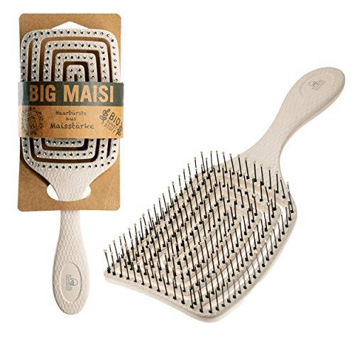 BIG MAISI, Bio Haarbürste aus Maisstärke, inkl. 10 Cent für die Rettung der Wälder, Detangler für jeden Haartyp, flexibler Bürstenkopf, vegan