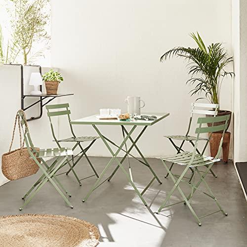 Mueble de jardín Plegable para bistró - Emilia Rectangular Verde Gris - Mesa de 110x70 cm con Cuatro sillas Plegables, Acero Pintado en Polvo