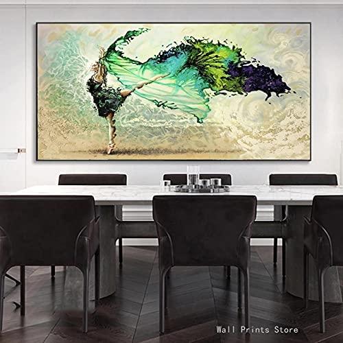 Rumlly Bailarina Abstracta niñas Pinturas en Lienzo Arte de Pared Mariposa Danza niñas Lienzo Arte Carteles e Impresiones Cuadros de Pared Azul 50x100cm sin Marco