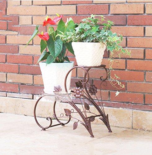 Cadre floral/Support pour plantes d'extérieur / 2 niveaux Flower Racks-Style européen Iron Metal étagère debout pour plante fleur Pot Stable Plant Stand Support fermement jardin étagère de rangement