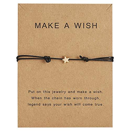 Jingmeizi - Pulsera de cuerda de cera ajustable con diseño de estrella de la suerte