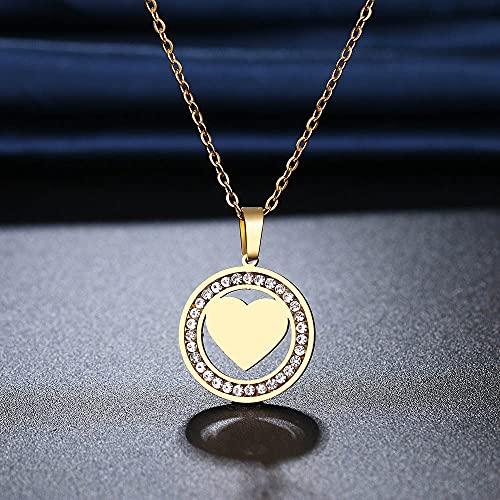 QWKLNRA Collar para Mujer Collar Colgante Collar De Acero Inoxidable Godlen Collar Rhinestone Un Corazón En Forma De Collares para Las Mujeres Boda Aniversario De San Valentín R
