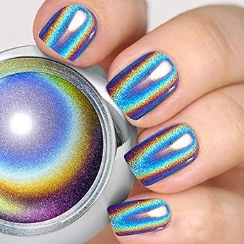 PrettyDiva Holographic Nail Powder - Unicorn Chrome Nail Powders Hologram Powders Iridescent Nails Pigment,Top Grade Rainbow Glitter HOLO Laser Powder for Nails Manicure Pigment