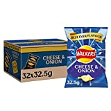 Walkers Cheese and Onion Crisps, 32.5 g, Pack of 32