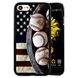 iPhone 7 8 Case,Flexible Soft TPU Cover Shell,Slim Silicone Black Rubber Non-Slip Durable Design Protective Phone Case for iPhone 7 8 -Baseball and Flags