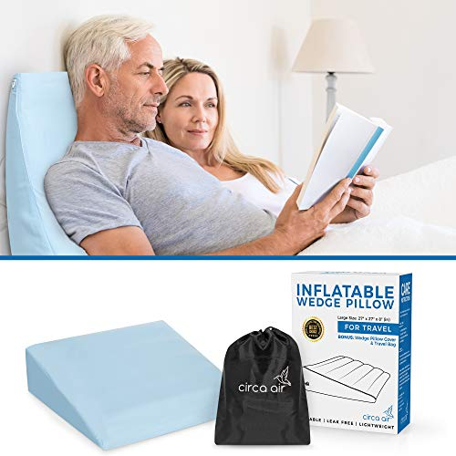 Circa Air Inflatable Wedge Pillow - with Wedge Pillow Cover (Large 27 x 27 x 8 in.) Inflatable Bed Wedges for Acid Reflux and Sleeping. Travel Wedge Pillow w/Quick Valve for Easy Inflation/Deflation