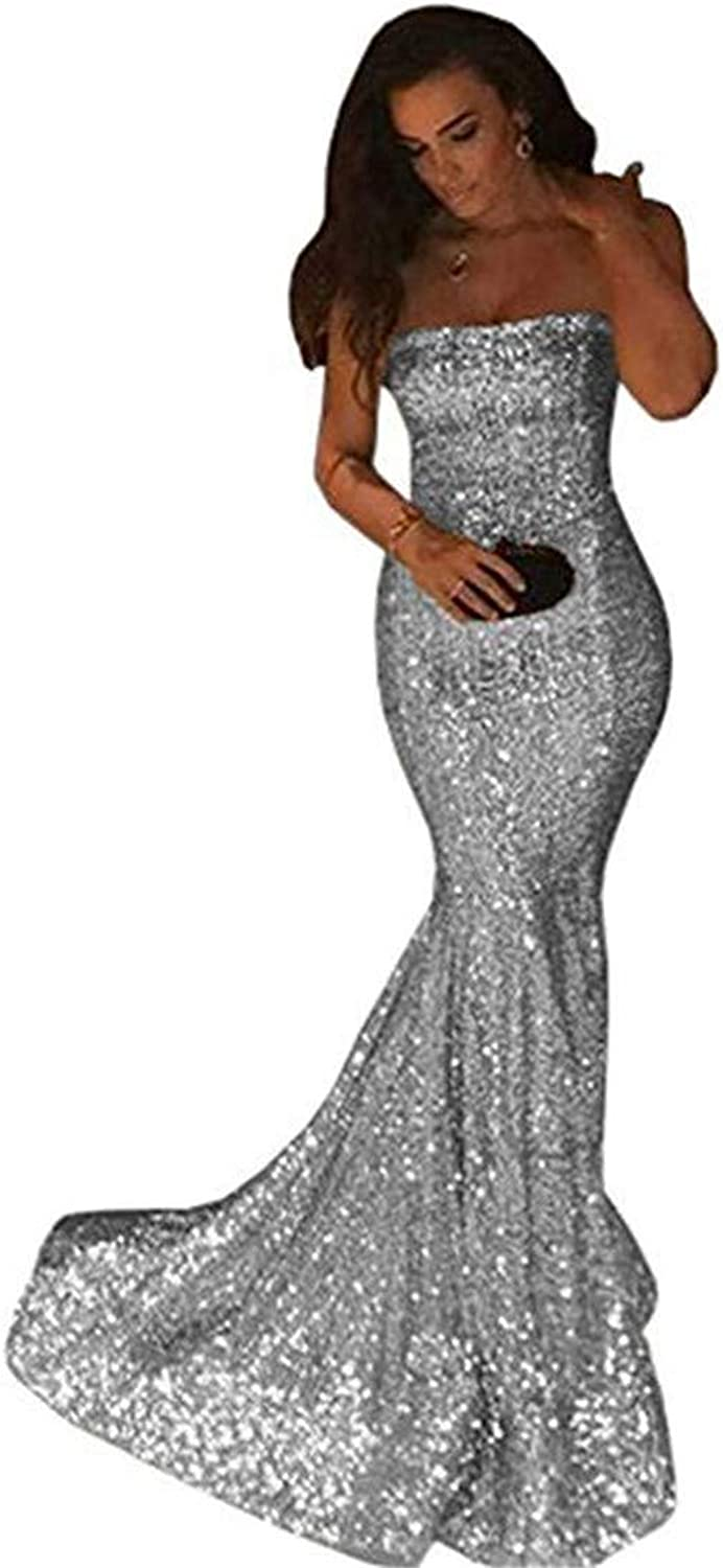 Mermaid Prom Dresses for Women Sleeveless Off The Shoulder Evening Party Dress with Lace