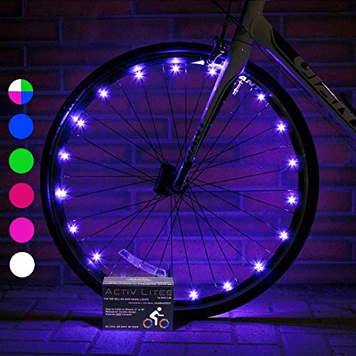 Activ Life Bike Lights Front and Back (2 Tires, Purple) Top Birth Day Gifts for Women & Christmas 2020 Presents for Girls. Best Unique Valentines Gifts for Her Wife Mom Friend Sister Girlfriend