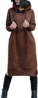 NUTEXROL Women's Thickening Long Fleece Sweatshirt String Hoodie Dress Pullover Plus Size