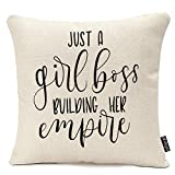 oFloral Throw Pillow Covers 16 X 16 Inch Just Girl Boss Building Her Empire Inspirational Phrase Modern Feminism Quote Lettering Pillow Case Cushion Cotton Linen Home Decor Pillowcase