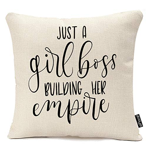 oFloral Throw Pillow Covers 20 X 20 Inch Just Girl Boss Building Her Empire Inspirational Phrase Modern Feminism Quote Lettering Pillow Case Cushion Cotton Linen Home Decor Pillowcase