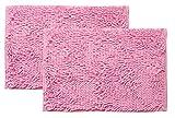 イケヒコ バスマット 洗える 吸水 速乾 無地 『クリア』 ピンク 2枚セット 約35×50cm 3440850