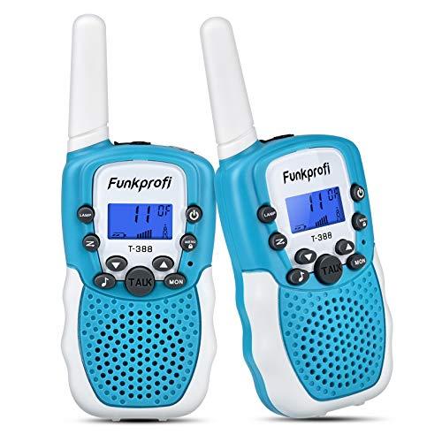 Funkprofi 2X Walkie Talkie Set für Kinder T-388 Funkgeräte 1-3KM Reichweite PMR446 8 Kanal mit Taschenlampe Geschenk für Jungen Mädchen ab 3 Jahren alt (A Blau+Weiß)