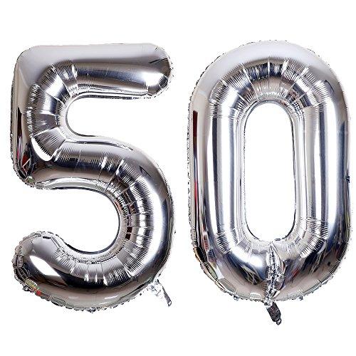 SMARCY Palloncini Gonfiabile Numero 50 Palloncini Compleanno 50 Anni Decorazioni Compleanno Argento