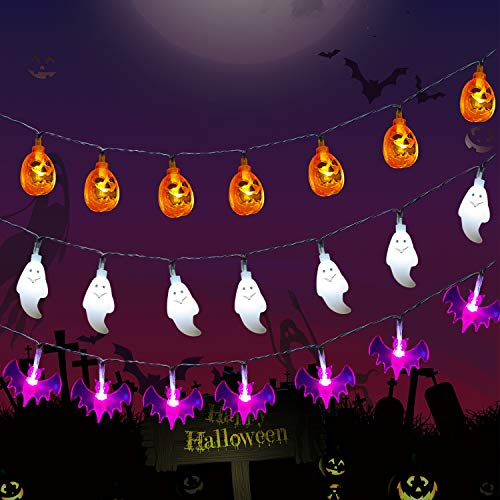 LDHTY Halloween Decorations String Lights,3PACK 60 LEDs Orange Pumpkins/Purple Bats/White Ghosts Holiday Lights,for Indoor Outdoor Halloween Party Decoration
