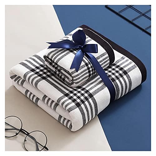 jinrun Toallas baño Toallas a Cuadros Toallas de baño de 2 Paquetes - Toallas de algodón 100% Extra-absorbentes for baño (1 × Toalla de baño + 1 × Toallas) Bath Sheet (Color : Gray)