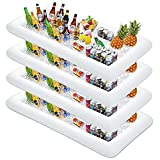 MorTime 4 PACK Inflatable Ice Serving Bar, 53'x25' Pool Party Buffet Drink Cooler, Ice Tray Food Drink Containers for Summer Parties