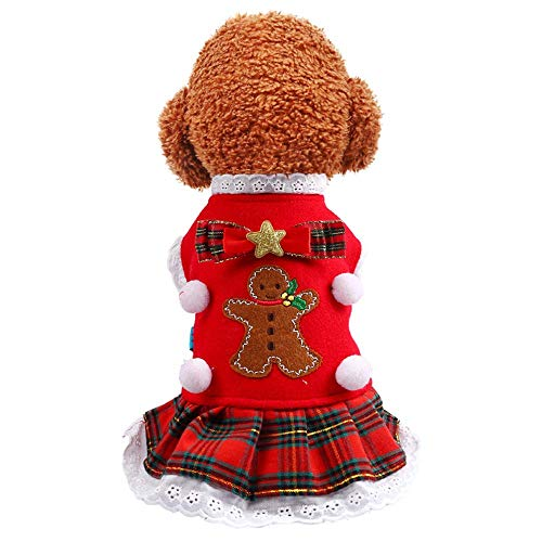 CWYP Huisdier kleding Teddy kleine hond kostuum schattige kat huisdier kostuum peperkoek man plaid rok rood
