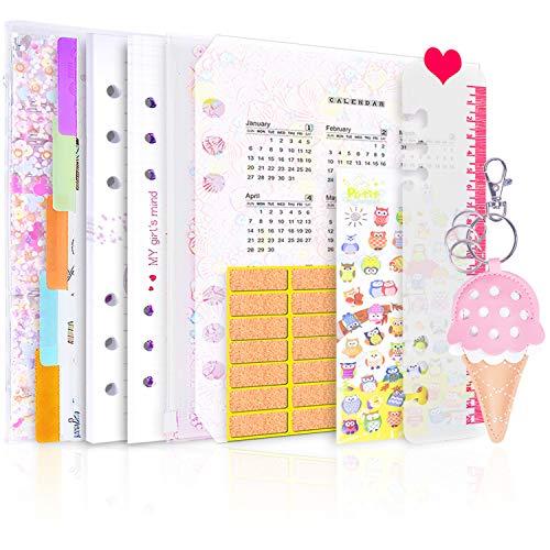6穴 バインダー システム手帳 ファイロファックスノートブック/プランナー+ルーズリーフ 詰め替え用紙 80枚+インデックス仕切りカード6枚+ルーラー1枚+カレンダーカード1枚 (ピンクの星, A5)